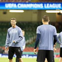Juventus v Real Madrid UEFA Champions League final 2 June 2017; Cristiano Ronaldo (Real Madrid, 7) is in a happy mood during the Juventus v Real Madrid UEFA Champions League final training session at the Principality Stadium, Cardiff<br /> <br /> &copy; Chris McCluskie | SportPix.org.uk