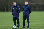 Forest Green Rovers assistant manager, Scott Lindsey and Forest Green Rovers manager, Mark Cooper signs a contract with Forest Green Rovers at Stanley Park, Chippenham, United Kingdom on 14 January 2019.