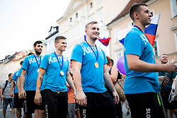 Team Slovenia during reception of Slovenian U20 handball players after winning gold at 2018 EHF U20 Men's European Championship, on July 30, 2018 in Ljubljana, Slovenia. Photo by Urban Urbanc / Sportida