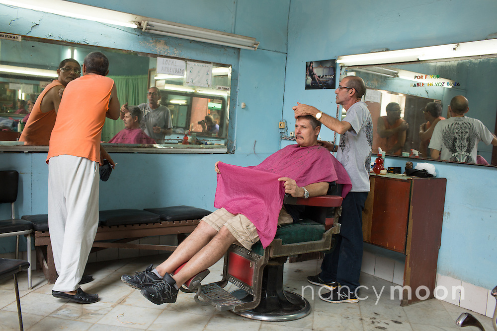 Havana, Cuba barbershop.<br />