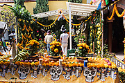 Believers worship at the La Casa De La Santa Muerte or House of the Saint of the Dead November 1, 2017 in Santa Ana Chapitiro, Michoacan, Mexico.