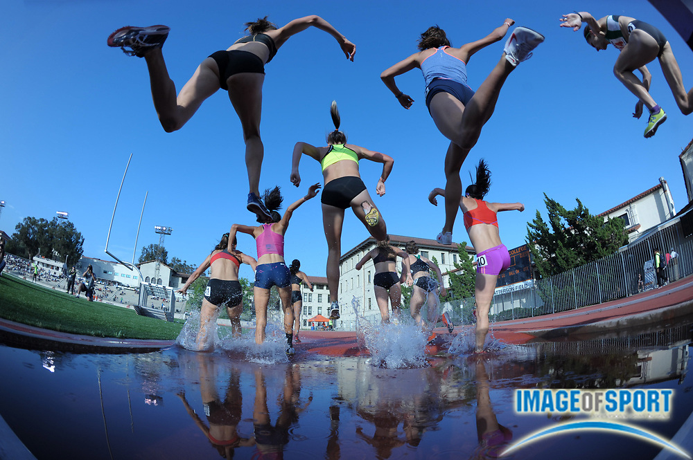 May 18, 2012; Los Angeles, CA, USA; General view of runners over the water jump in the womens steeplechase in the 2012 USATF High Performance meet at Occidental College.
