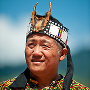 Bunun wearing brking deer headress, Annual Bunun Ear Festival, Maya village, Ming Chuan, Namasiya Township, Kaoshiung County, Taiwan