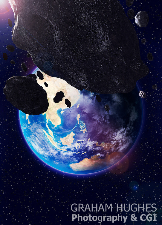 Planet Earth With Asteroids