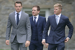 England cricket players Jos Buttler (left), Eoin Morgan (centre) and Sam Billings (right) arrive at St Mary the Virgin, East Brent, Somerset, for the wedding of Ben Stokes and his fiancee Clare Ratcliffe.
