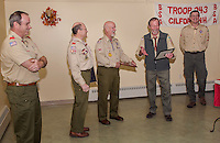 Retiring Boy Scout leaders Carl Gebhardt with 43 years of service and Gary Doucette with 26 years of service were honored by the Boy Scout Troop 243 Wednesday evening at the Gilford Community Center.  (l-r) Kurt Webber, Carl Gebhardt, Gary Doucette, Bill Klubben and Brian Roper  (Karen Bobotas/for the Laconia Daily Sun)