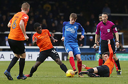Chris Forrester of Peterborough United skips past a challenge from Dru Yearwood and Michael Timlin of Southend United - Mandatory by-line: Joe Dent/JMP - 03/02/2018 - FOOTBALL - ABAX Stadium - Peterborough, England - Peterborough United v Southend United - Sky Bet League One