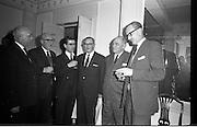 11/01/1963<br /> 01/11/1963<br /> 11 January 1963<br /> Leipzig Fair reception and film show at the Gresham Hotel, Dublin. At the reception were (l-r): Denis Hayes, Leipzig Fair Agency in Great Britain; Jim Leydon, Dakota Ltd. (President Irish Exporters' Association); Mr Teevan, Glen Abbey Textiles, Taillight, Co. Dublin; Mr K. Ticher, Ticher Ltd.; A.H. Weber, Jowika, (Ireland) Ltd., Listowel, Co. Kerry and Gerry Lane, Gypsum Industries Ltd., Dublin.
