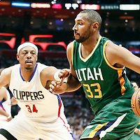 30 April 2017: Utah Jazz center Boris Diaw (33) drives past LA Clippers forward Paul Pierce (34) during the Utah Jazz 104-91 victory over the Los Angeles Clippers, during game 7 of the first round of the Western Conference playoffs, at the Staples Center, Los Angeles, California, USA.