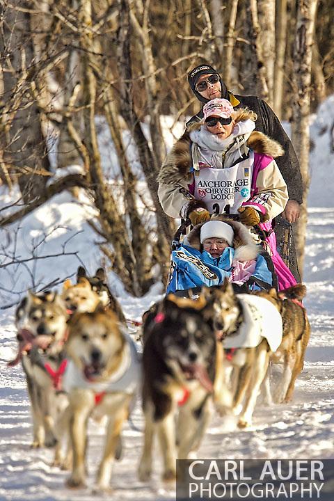 March 7th, 2009:  Anchorage, Alaska - Fan favorite DeeDee Jonrowe of Willow, Alaska heads towards the Alaska Native Hospital during the 2009 Iditarod Ceremonial Start.