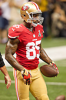 3 February 2013: Tight end (85) Vernon Davis of the San Francisco 49ers warms up before the Baltimore Ravens 34-31 victory over the 49ers in Superbowl XLVII at the Mercedes-Benz Superdome in New Orleans, LA.