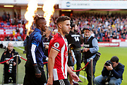 George Baldock of Sheffield United walks out for the Premier League match between Sheffield United and Crystal Palace at Bramall Lane, Sheffield, England on 18 August 2019.