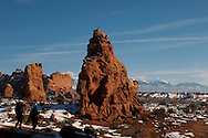 The Windows, Arches National Park. Utah, winter, tourists, raven