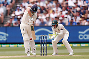 Dawid Malan plays a defensive shot during day three of the Australia v England fourth test at the Melbourne Cricket Ground, Melbourne, Australia on 28 December 2017. Photo by Mark  Witte.