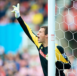 STOKE, ENGLAND - Sunday, September 14, 2008: Stoke City's goalkeeper Thomas Sorensen during the Premiership match at the Britannia Stadium. (Photo by David Rawcliffe/Propaganda)