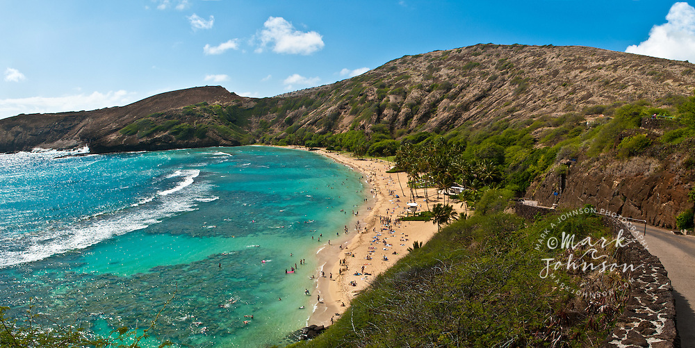 Hanauma Bay Nature Preserve panorama, with road down to beach on right of frame, Oahu, Hawaii