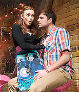 Spinach<br /> by<br /> Janine Waters<br /> at The King's Head Theatre, London, Great Britain <br /> press photocall<br /> 13th June 2012 <br /> <br /> Cassadra Compton as Kate<br /> <br /> Ben Gerrard as Tom<br /> <br /> Claire Greenway as Maureen<br /> <br /> Craig Whittaker as Darren <br /> <br /> <br /> Photograph by Elliott Franks