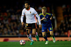 April 6, 2017 - Valencia, Valencia, Spain - Ezequiel Garay (L) of Valencia CF competes for the ball with Daniel Waas of Real Club Celta de Vigo during the La Liga match between Valencia CF and Real Club Celta de Vigo at Mestalla Stadium on April 6, 2017 in Valencia, Spain. (Credit Image: © David Aliaga/NurPhoto via ZUMA Press)