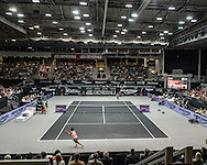 Carla Suarez Navarro (ESP) and Dominika Cibulkova (SVK) during the semi finals of the WTA Generali Ladies Linz Open at TipsArena, Linz<br /> Picture by EXPA Pictures/Focus Images Ltd 07814482222<br /> 15/10/2016<br /> *** UK &amp; IRELAND ONLY ***<br /> <br /> EXPA-REI-161015-5011.jpg