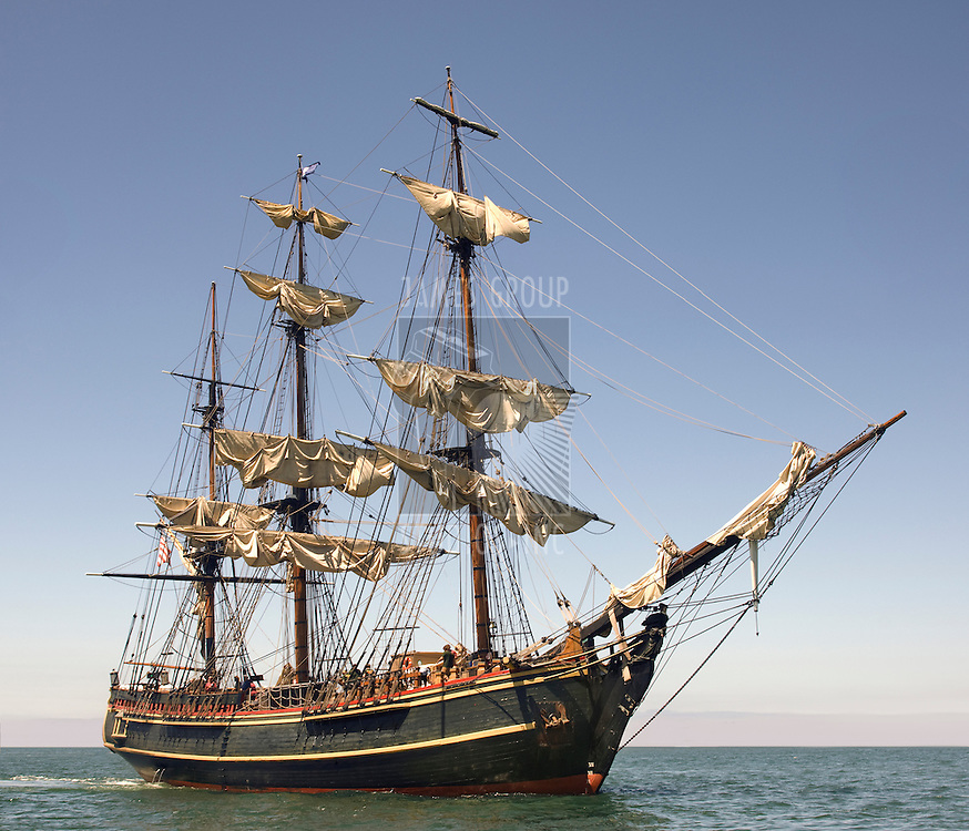 Pirate style ship setting sail on the high seas