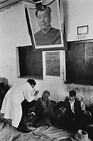 CATARACT BLINDNESS IN TIBET TIBETAN EYE DOCTOR DR NYINI SCREENS PATIENTS IN A MAKESHIFT SURGERY IN GUCHO.