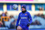 Reading midfielder John Swift (10) warms up during the EFL Sky Bet Championship match between Millwall and Reading at The Den, London, England on 18 January 2020.