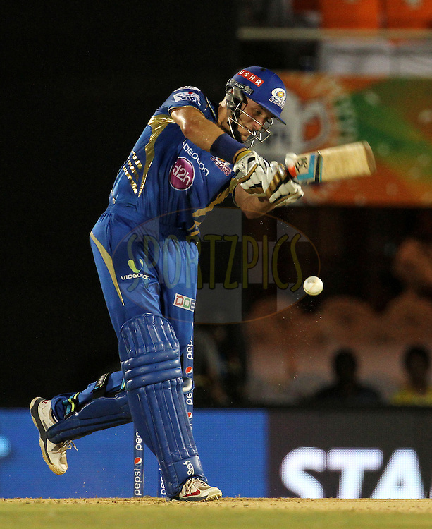 Michael Hussey of the Mumbai Indians misses a shot during the eliminator match of the Pepsi Indian Premier League Season 2014 between the Chennai Superkings and the Mumbai Indians held at the Brabourne Stadium, Mumbai, India on the 28th May  2014<br /> <br /> Photo by Vipin Pawar / IPL / SPORTZPICS<br /> <br /> <br /> <br /> Image use subject to terms and conditions which can be found here:  http://sportzpics.photoshelter.com/gallery/Pepsi-IPL-Image-terms-and-conditions/G00004VW1IVJ.gB0/C0000TScjhBM6ikg