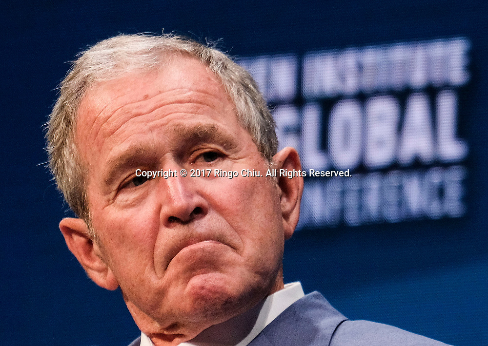 Former U.S. President George W. Bush is interviewed by Michael Milken during the Milken Institute Global Conference in Beverly Hills, California on Wednesday May 3, 2017.(Photo by Ringo Chiu/PHOTOFORMULA.com)<br /> <br /> Usage Notes: This content is intended for editorial use only. For other uses, additional clearances may be required.