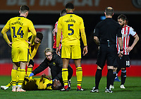 Football - 2018 / 2019 FA Cup - Third Round: Brentford vs. Oxford United<br /> <br /> Oxford United's Shandon Baptiste receives treatment for an injury which ultimately leads to him departing on a stretcher, at Griffin Park.<br /> <br /> COLORSPORT/ASHLEY WESTERN