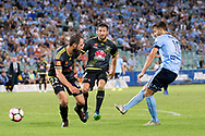 February 8, 2017: Sydney FC midfielder Milos NINKOVIC (10) gets the ball past Wellington Phoenix Andrew DURANTE (c) (22) to score at Round 19 of the 2017 Hyundai A-League match, between Sydney FC and Wellington Phoenix played at Allianz Stadium in Sydney. Sydney FC won the game 3-1.