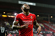 Kaiyne Woolery (22) of Swindon Town during the EFL Sky Bet League 2 match between Swindon Town and Yeovil Town at the County Ground, Swindon, England on 10 April 2018. Picture by Graham Hunt.