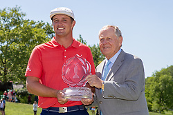 June 3, 2018 - Dublin, OH, U.S. - DUBLIN, OH - JUNE 03: Bryson DeChambeau and Jack Nicklaus pose with the Memorial Tournament trophy after winning the second round playoff of the Memorial Tournament at Muirfield Village Golf Club in Dublin, Ohio on June 03, 2018.(Photo by Adam Lacy/Icon Sportswire) (Credit Image: © Adam Lacy/Icon SMI via ZUMA Press)