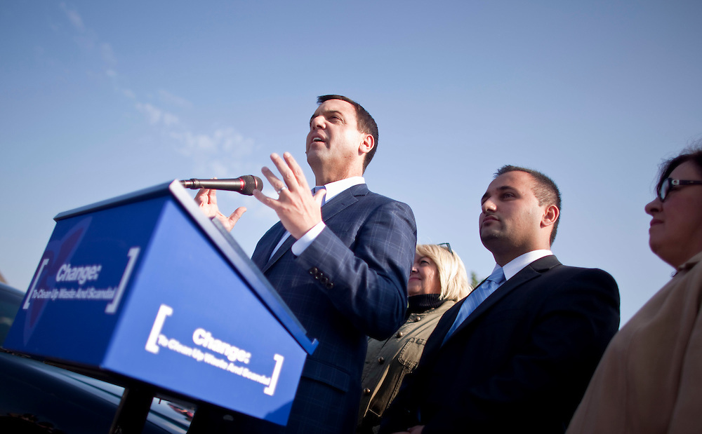 Ontario PC leader Tim Hudak speaks during a campaign stop in London, Ontario, Tuesday, September 13, 2011.<br /> THE CANADIAN PRESS/ Geoff Robins