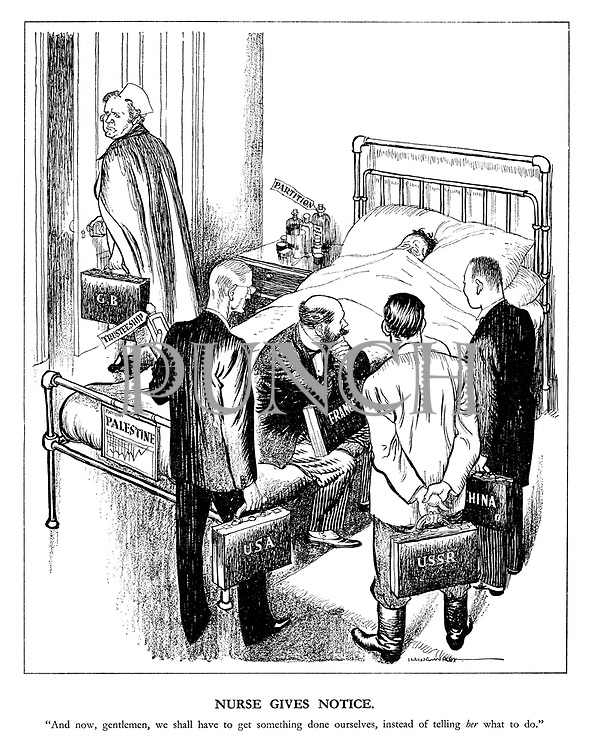 """Nurse gives notice. """"And now, gentleman, we shall have to get something done ourselves, instead of telling her what to do."""""""