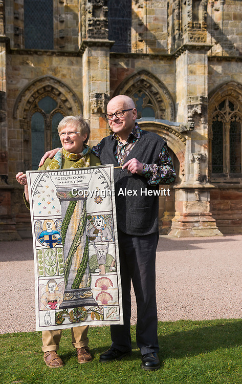 FREE PICTURE FOR GREAT TAPESTRY OF SCOTLAND PUBLICITY. TO ACCOMPANY PRESS RELEASE.<br /> <br /> The Roslin stitching group of the Great Tapestry of Scotland showcase the replacement for the Rosslyn chapel panel that was stolen in September 2015<br /> <br /> l-r<br /> Fiona Mcintosh (Lead stitcher), Andrew Crummy (Artist)<br /> <br /> picture by Alex Hewitt<br /> alex.hewitt@gmail.com<br /> 07789 871 540