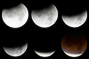 A composite of six images captured from Seattle, Washington, shows the progression of the lunar eclipse on December 10, 2011. Captured over a one-hour period, the composite shows the Earth gradually passing between the sun and the moon. The eclipse was visible from eastern Europe to the western United States and is the last total lunar eclipse until April 15, 2014.