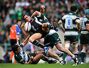 Twickenham, GREAT BRITAIN, Ospreys', Lee BRYNE is tackled by Tigers Martin CASTROGIOVANNI and Harry ELLIS on the ground, during the EDF Energy Cup Final rugby match,  Leicester Tiger vs Ospreys, at Twickenham Stadium, Surrey on Sat 12.04.2008 [Photo, Peter Spurrier/Intersport-images]