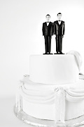 Wedding Cake with Gay Couple two men male figures in support of gay marriage and marriage equality