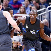 25 February 2017: Orlando Magic center Bismack Biyombo (11) drives past Atlanta Hawks center Dwight Howard (8) during the Orlando Magic 105-86 victory over the Atlanta Hawks, at the Amway Center, Orlando, Florida, USA.