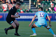 Saracens scrum-half Tom Whitely (9) and Worcester Warriors full-back Chris Pennell (15) during the Premiership Rugby Cup match between Saracens and Worcester Warriors at Allianz Park, Hendon, United Kingdom on 11 November 2018.