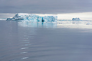 Icebergs, drift ice and calm sea in the Antarctic Sound on the northern tip of the Antarctic Peninsula