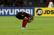 SYDNEY, AUSTRALIA - NOVEMBER 22: Western Sydney Wanderers forward Kwame Yeboah (27) holds his head after wanderers concede a late goal during the round 7 A-League soccer match between Western Sydney Wanderers FC and Melbourne City FC on November 22, 2019 at Bankwest Stadium in Sydney, Australia. (Photo by Speed Media/Icon Sportswire)