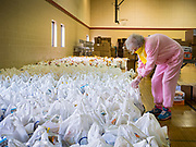 06 APRIL 2020 - DES MOINES, IOWA: MARIA CUNNINGHAM, a volunteer, sorts bags of food before a drive through emergency food distribution at First DSM Church in Des Moines. On Monday, 06 April, Iowa reported 946 confirmed cases of the Novel Coronavirus (SARS-CoV-2) and COVID-19. There have been 25 deaths attributed to COVID-19 in Iowa. Most non-essential businesses are closed until 30 April. Well over 100,000 Iowans filed first time claims for unemployment in the last three weeks, more than applied during the peak of the Great Recession of 2008. Local food banks have seen an equal spike in people seeking nutritional assistance. First DSM Church has increased their food pantry from one day weekly to three days per week. Hundreds of people lined up Monday to get a box of food and one roll of toilet paper at the church's drive through pantry.          PHOTO BY JACK KURTZ