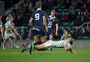 """Twickenham, Surrey. UK. Chris BELL, """"dives in"""" to score the first try, in the   2017 Men's Varsity Rugby Match, Oxford vs Cambridge Universities. RFU Stadium, Twickenham. Surrey, England.<br /> <br /> Thursday  07.12.17  <br /> <br /> [Mandatory Credit Peter SPURRIER/Intersport Images]"""