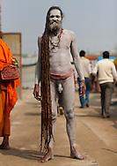 Naga Sadhu at Maha Kumbh Mela festival, world's largest congregation of religious pilgrims. Allahabad, India.