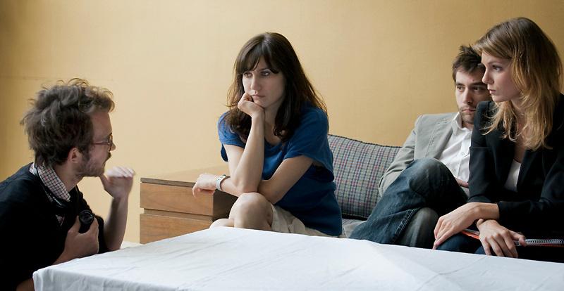 Emmanuel MARRE (réalisateur),Madalina CONSTANTIN, Romain COINDET, Emilie PIPONNIER, tournage scène imposée - emergence 2011