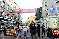 Enjoying the Havana Club Rum party at the Little Havana Galway Festival, latin Quarter, Galway on the June bank holiday 2010. Photo:Andrew Downes.