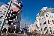 new and old buildings at Allenby and Hayarkon junction, Tel Aviv, Israel