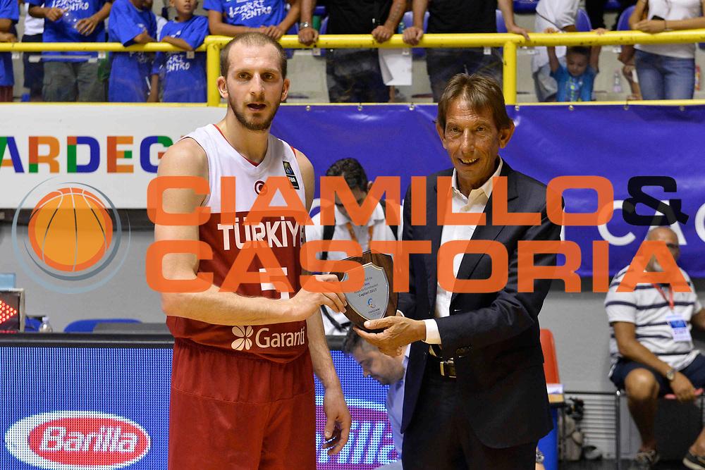 CAGLIARI 13 AGOSTO 2017<br /> Torneo di Cagliari Nazionale Italiana<br /> Italia - Turchia    Italy - Turkey<br /> NELLA FOTO Sinan Guler Bruno Perra<br /> FOTO CIAMILLO
