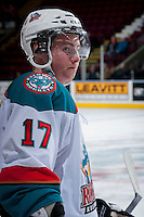 KELOWNA, CANADA - JANUARY 22: Marek Tvrdon #17 of the Kelowna Rockets stands at the bench against the Everett Silvertips on January 22, 2014 at Prospera Place in Kelowna, British Columbia, Canada.   (Photo by Marissa Baecker/Getty Images)  *** Local Caption *** Marek Tvrdon;